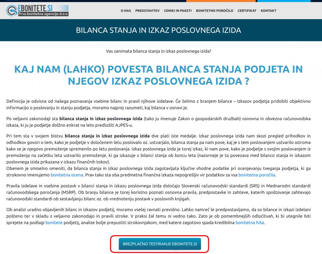 brezplačno testiranje aplikacije ebonitete.si