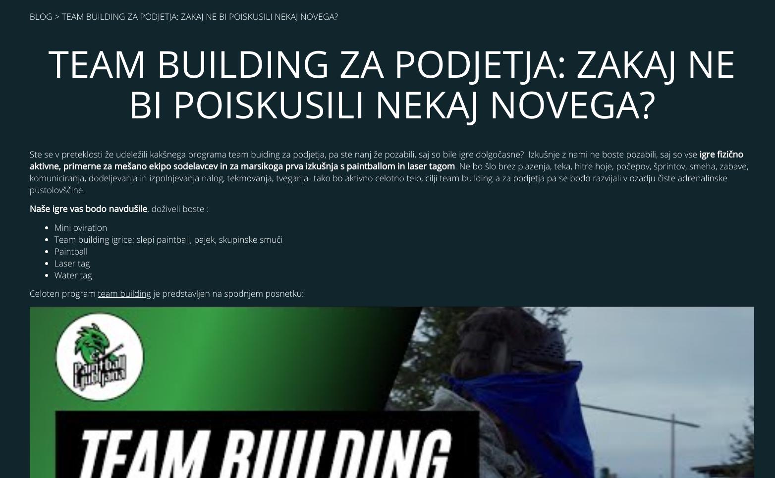 kaj je seo - team building za podjetja